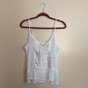 Hollister Sheer Sequin Spaghetti Strap Tank Top